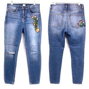 Sneak Peek High Rise Flower Patch Skinny Jeans